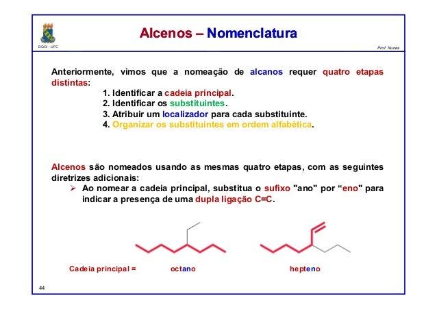 DQOI - UFC Prof. Nunes Anteriormente, vimos que a nomeação de alcanos requer quatro etapas distintas: 1. Identificar a cad...