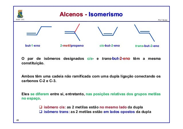 DQOI - UFC Prof. Nunes O par de isômeros designados cis- e trans-but-2-eno têm a mesma constituição. Ambos têm uma cadeia ...