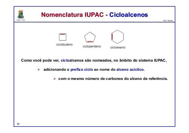 DQOI - UFC Prof. Nunes Como você pode ver, cicloalcenos são nomeados, no âmbito do sistema IUPAC,  adicionando o prefixo ...