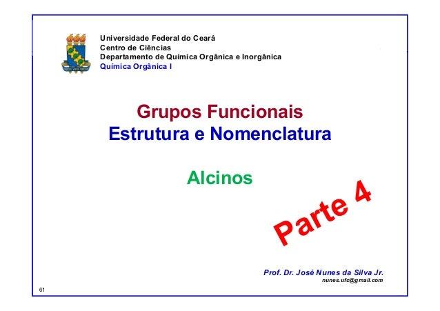 DQOI - UFC Prof. Nunes Grupos Funcionais Estrutura e Nomenclatura Alcinos Universidade Federal do Ceará Centro de Ciências...