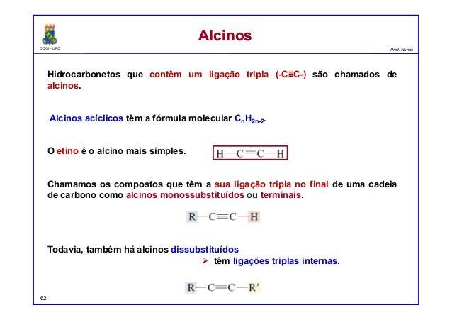 DQOI - UFC Prof. Nunes Hidrocarbonetos que contêm um ligação tripla (-C≡C-) são chamados de alcinos. Alcinos acíclicos têm...