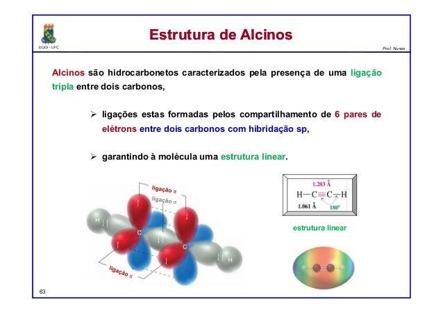 DQOI - UFC Prof. Nunes Alcinos são hidrocarbonetos caracterizados pela presença de uma ligação tripla entre dois carbonos,...