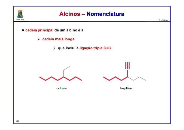 DQOI - UFC Prof. Nunes A cadeia principal de um alcino é a  cadeia mais longa  que inclui a ligação tripla C≡C: 65 Alcin...