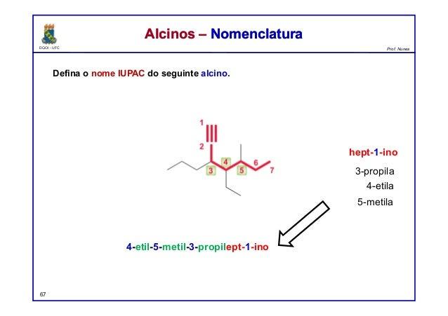 DQOI - UFC Prof. Nunes Defina o nome IUPAC do seguinte alcino. 67 Alcinos – NomenclaturaAlcinos – Nomenclatura 4-etil-5-me...
