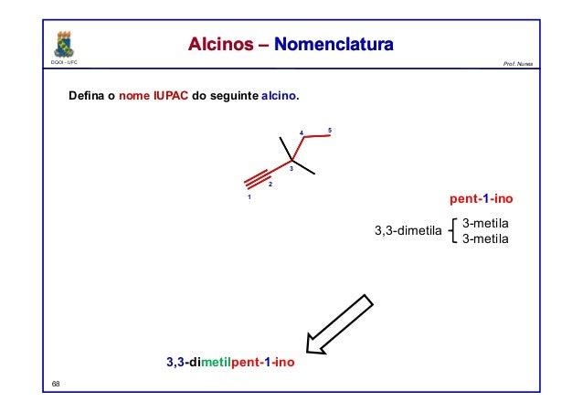 DQOI - UFC Prof. Nunes Defina o nome IUPAC do seguinte alcino. 68 Alcinos – NomenclaturaAlcinos – Nomenclatura 3,3-dimetil...