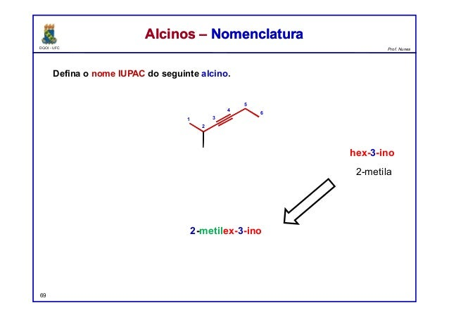 DQOI - UFC Prof. Nunes Defina o nome IUPAC do seguinte alcino. 69 Alcinos – NomenclaturaAlcinos – Nomenclatura 2-metilex-3...
