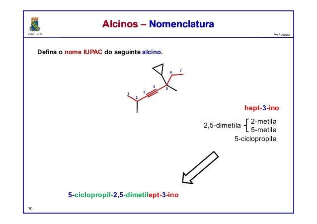 DQOI - UFC Prof. Nunes Defina o nome IUPAC do seguinte alcino. 70 Alcinos – NomenclaturaAlcinos – Nomenclatura 5-cicloprop...