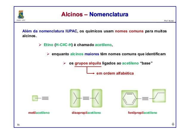 DQOI - UFC Prof. Nunes Além da nomenclatura IUPAC, os químicos usam nomes comuns para muitos alcinos.  Etino (H-C≡C-H) é ...
