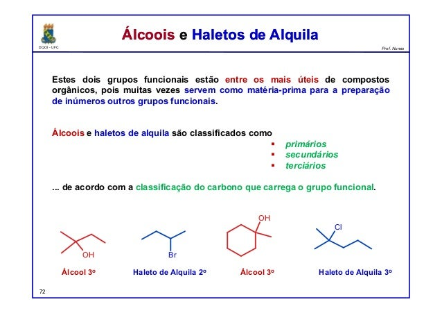 DQOI - UFC Prof. Nunes Álcoois e Haletos de AlquilaÁlcoois e Haletos de Alquila Estes dois grupos funcionais estão entre o...
