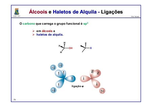 DQOI - UFC Prof. Nunes Álcoois e Haletos de Alquila - LigaçõesÁlcoois e Haletos de Alquila - Ligações O carbono que carreg...