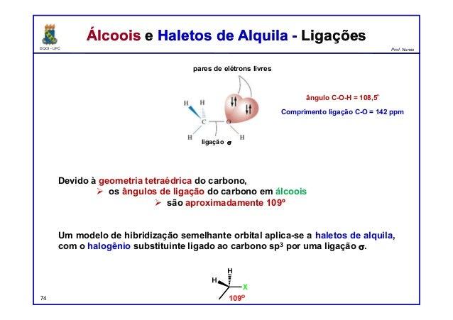 DQOI - UFC Prof. Nunes Álcoois e Haletos de Alquila - LigaçõesÁlcoois e Haletos de Alquila - Ligações Devido à geometria t...