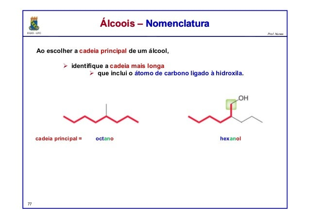 DQOI - UFC Prof. Nunes Ao escolher a cadeia principal de um álcool,  identifique a cadeia mais longa  que inclui o átomo...