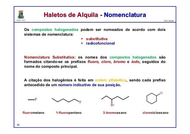 DQOI - UFC Prof. Nunes Haletos de Alquila - NomenclaturaHaletos de Alquila - Nomenclatura Os compostos halogenados podem s...