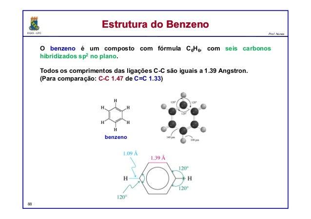 DQOI - UFC Prof. Nunes Estrutura do BenzenoEstrutura do Benzeno O benzeno é um composto com fórmula C6H6, com seis carbono...