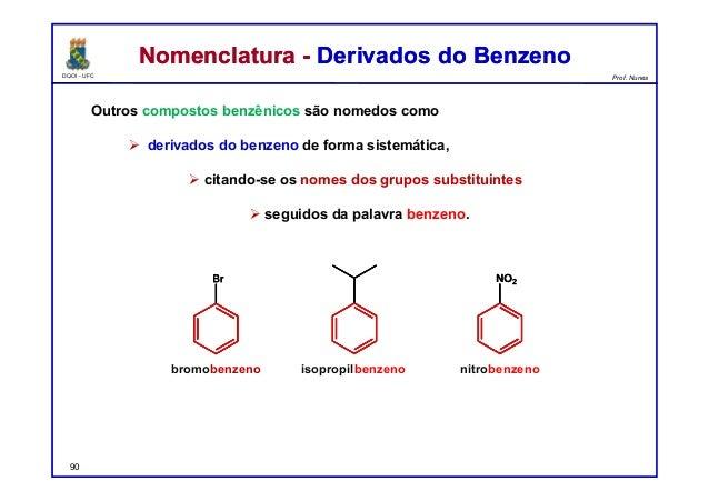 DQOI - UFC Prof. Nunes Nomenclatura - Derivados do BenzenoNomenclatura - Derivados do Benzeno Outros compostos benzênicos ...