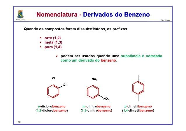 DQOI - UFC Prof. Nunes Nomenclatura - Derivados do BenzenoNomenclatura - Derivados do Benzeno Quando os compostos forem di...