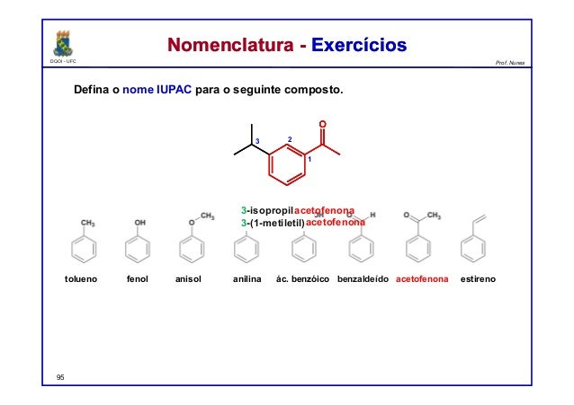 DQOI - UFC Prof. Nunes Nomenclatura - ExercíciosNomenclatura - Exercícios Defina o nome IUPAC para o seguinte composto. 95...
