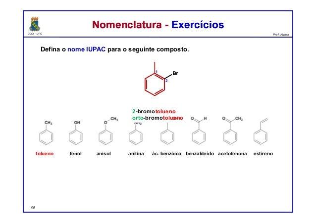 DQOI - UFC Prof. Nunes Nomenclatura - ExercíciosNomenclatura - Exercícios Defina o nome IUPAC para o seguinte composto. 96...