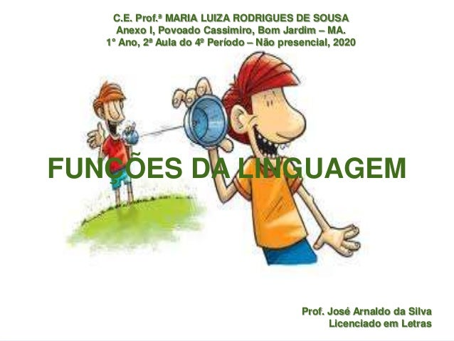 Prof. José Arnaldo da Silva Licenciado em Letras FUNÇÕES DA LINGUAGEM C.E. Prof.ª MARIA LUIZA RODRIGUES DE SOUSA Anexo I, ...