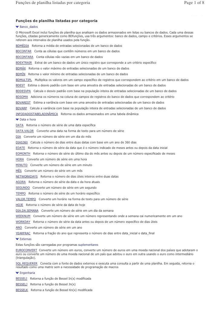 Funções de planilha listadas por categoria                                                                                ...