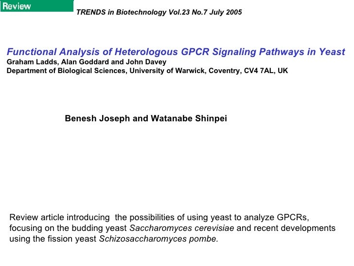 Functional Analysis of Heterologous GPCR Signaling Pathways in Yeast Graham Ladds, Alan Goddard and John Davey Department ...