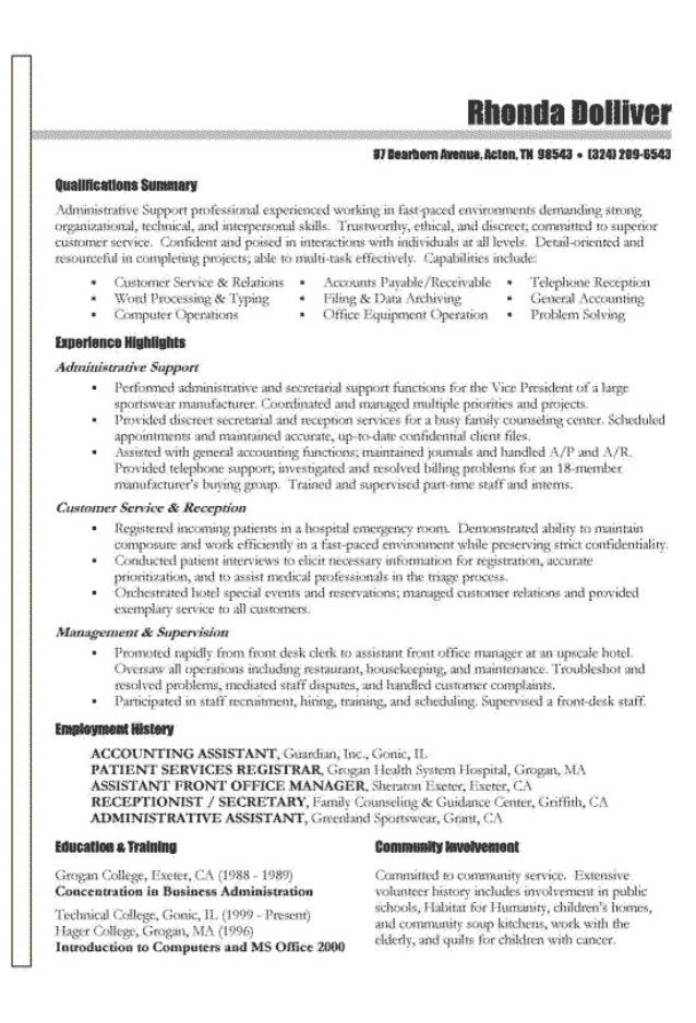 Functional Resume Example. 1331!! Stdnxinnstmtive Suppurt Pmfesnsicmal  Expcricmt D Wnrking In fiat 17341 D ...  A Functional Resume