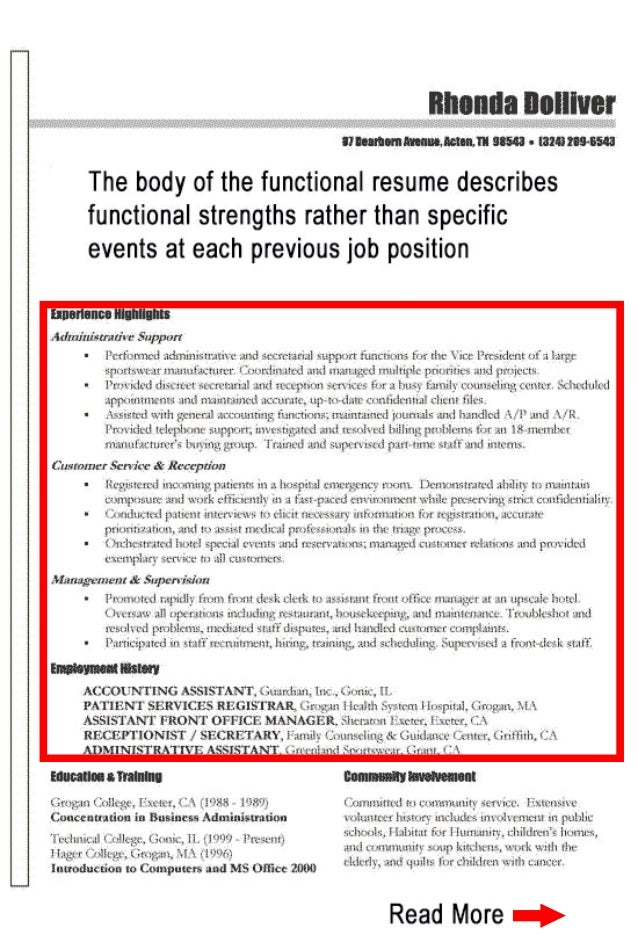 SlideShare  Example Of Functional Resume