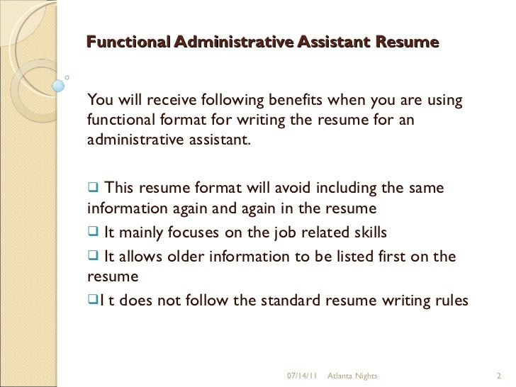 Functional Administrative Assistant Resume ...