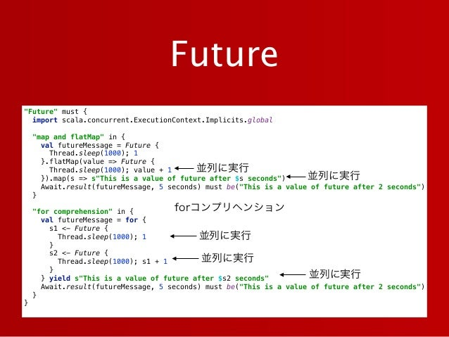 """""""Future"""" must { import scala.concurrent.ExecutionContext.Implicits.global  """"map and flatMap"""" in { val futureMessage = F..."""