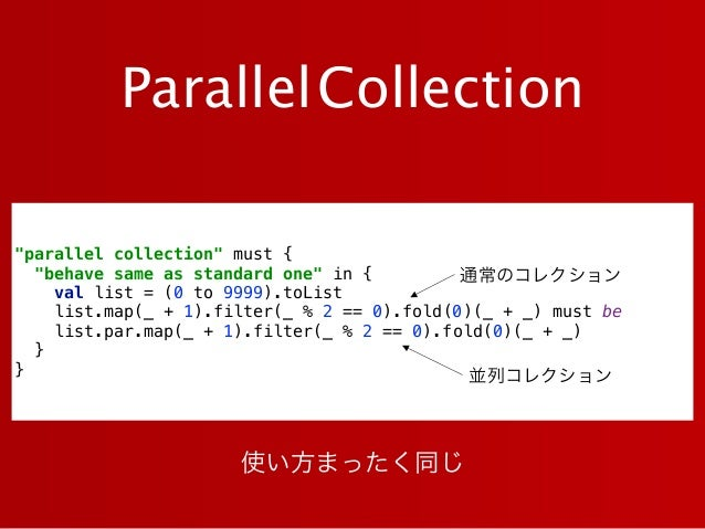 """ParallelCollection """"parallel collection"""" must { """"behave same as standard one"""" in { val list = (0 to 9999).toList list.m..."""