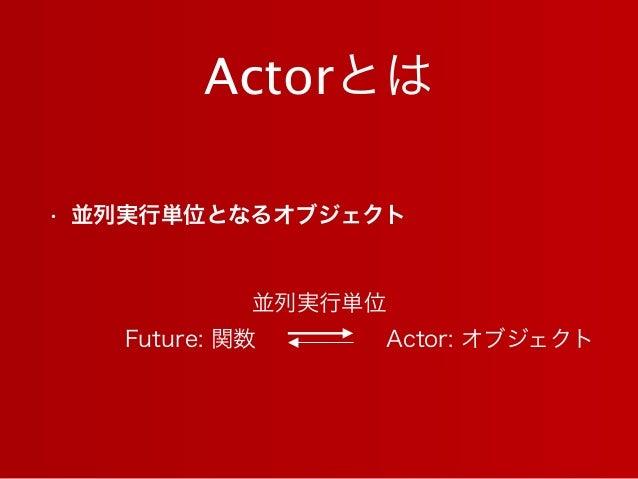 Actorとは • 並列実行単位となるオブジェクト Future: 関数 Actor: オブジェクト 並列実行単位