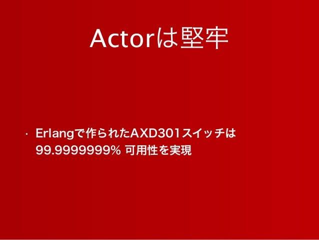 Actorは堅牢 • Erlangで作られたAXD301スイッチは 99.9999999% 可用性を実現