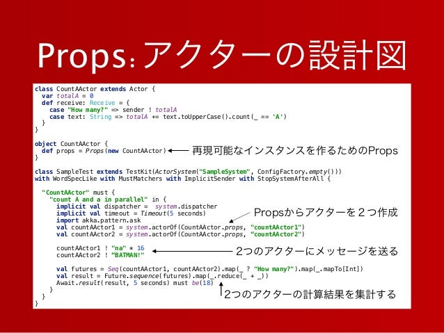 """Props:アクターの設計図 class CountAActor extends Actor { var totalA = 0 def receive: Receive = { case """"How many?"""" => sender ! t..."""