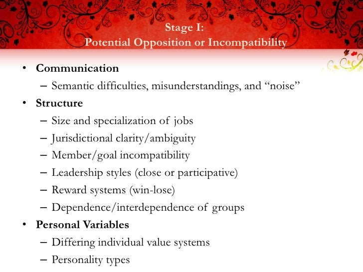 Stage I:             Potential Opposition or Incompatibility• Communication   – Semantic difficulties, misunderstandings, ...