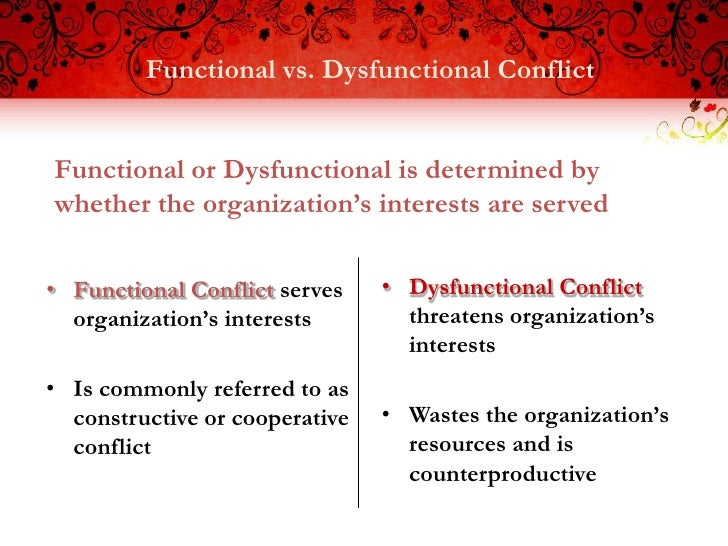 distinguish between functional and dysfunctional conflict essay 1 introduction the two key terms conflict and dispute are interchangeable, as this was supported by dictionary meanings of these terms which are as follows: conflict is a fight, struggle and disagreement and dispute is debate, argue and quarrel.