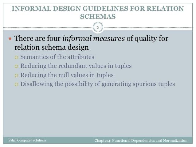 Functional dependencies and normalization for relational databases Slide 3