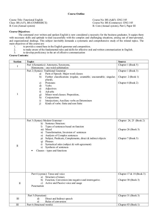 Course Outline Course Title: Functional English Course No: BS (A&F): ENG 105 Class: BS (A/F), BS (COMMERCE) Course No: BS ...