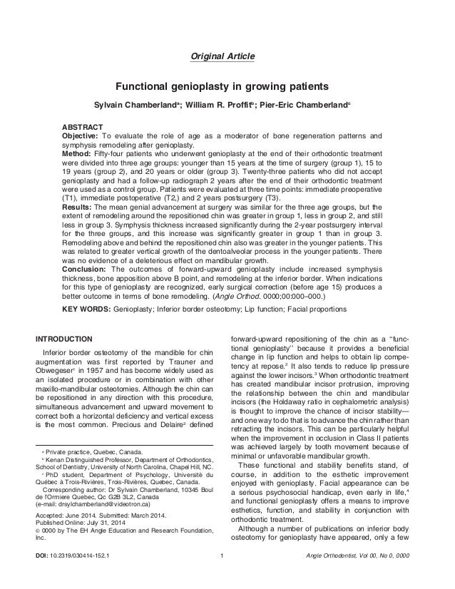 Original Article  Functional genioplasty in growing patients  Sylvain Chamberlanda; William R. Proffitb; Pier-Eric Chamber...