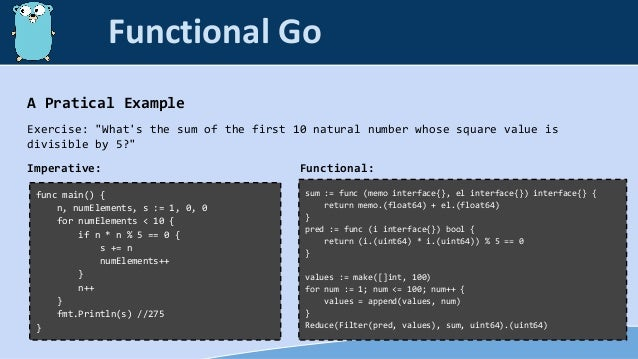 """A Pratical Example Exercise: """"What's the sum of the first 10 natural number whose square value is divisible by 5?"""" Imperat..."""