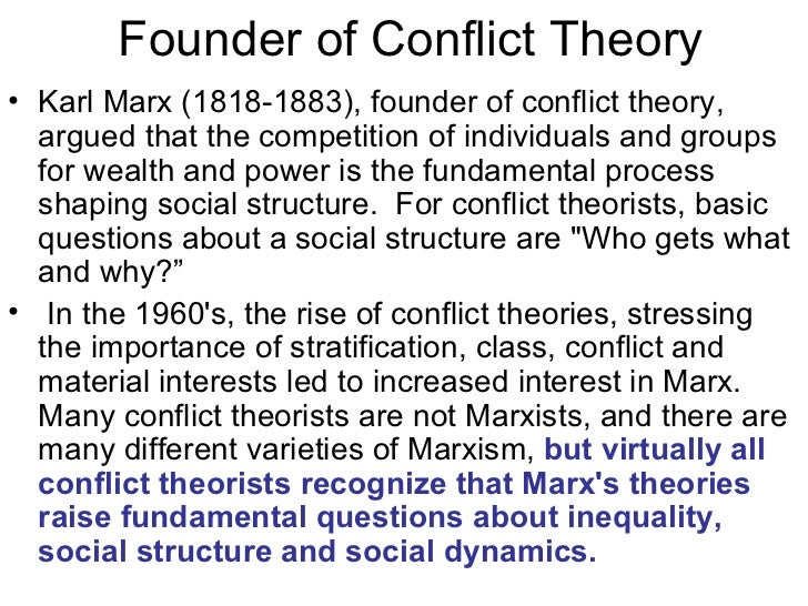 conflict theory by karl marx Conflict theory suggests that human behavior in social contexts results from conflicts between competing groups conflict theory originated with the work of karl marx.