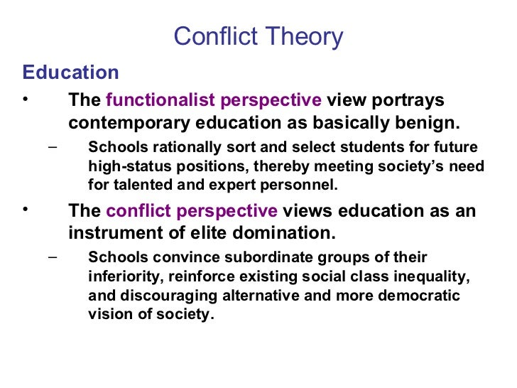 conflict theory in education Social conflict theory sees social life as a competition and focuses on the distribution of resources, power, and inequality let's take a look at.