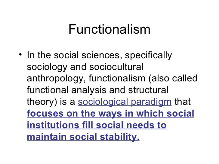 Fuctionalism as sociology