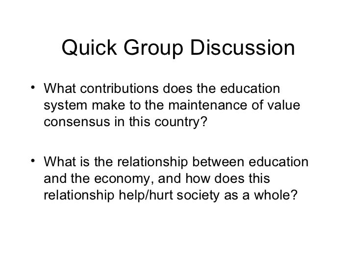 the main function of education is to maintain a value consensus in society essay The main function of education is to maintain a value consensus in society essay sample the main function of education is to maintain a value consensus in society, this is the main idea of.
