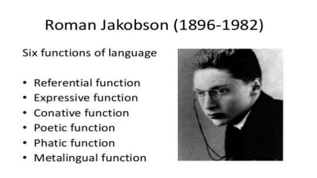 Thus Jakobson distinguishes six communication functions, each associated with a dimension of the communication process: • ...