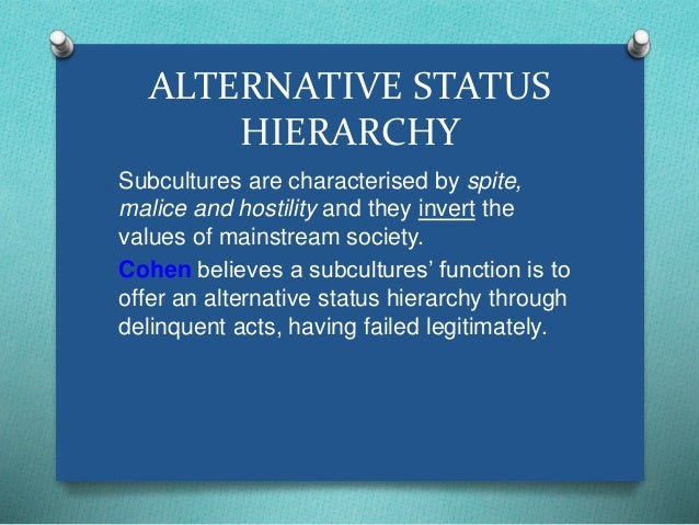 ALTERNATIVE STATUS  HIERARCHY  Subcultures are characterised by spite,  malice and hostility and they invert the  values o...