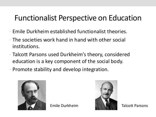 emile durkheim functionalist theory on education