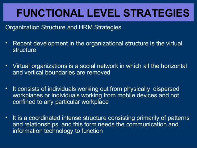FUNCTIONAL LEVEL STRATEGIES Organization Structure and HRM Strategies • Recent development in the organizational structure...