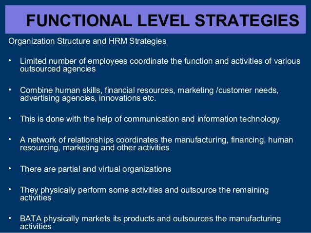 FUNCTIONAL LEVEL STRATEGIES Organization Structure and HRM Strategies •  Limited number of employees coordinate the functi...