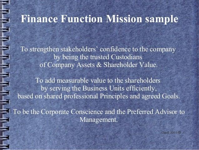 Sample Finance Function Mission Statement