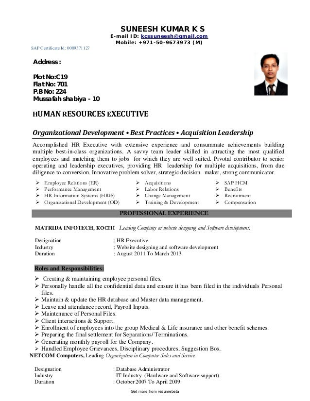 Functional Professional Director Of Human Resources Resume. SUNEESH KUMAR K  S E Mail ID: Kcssuneesh@gmail.com Mobile: + ...  Human Resources Resumes